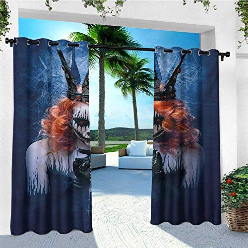 leinuoyi Queen, Outdoor Curtain Set, Queen of Death Scary Body Art Halloween Evil Face Bizarre Make Up Zombie, Set for Patio Waterproof W108 x L108 Inch Navy Blue Orange Black -