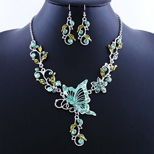 Vintage Butterfly Flower Necklace and Earrings Sets Fashion Wedding Party Chokers Necklace for Women (green) - Green Necklace Set For Women