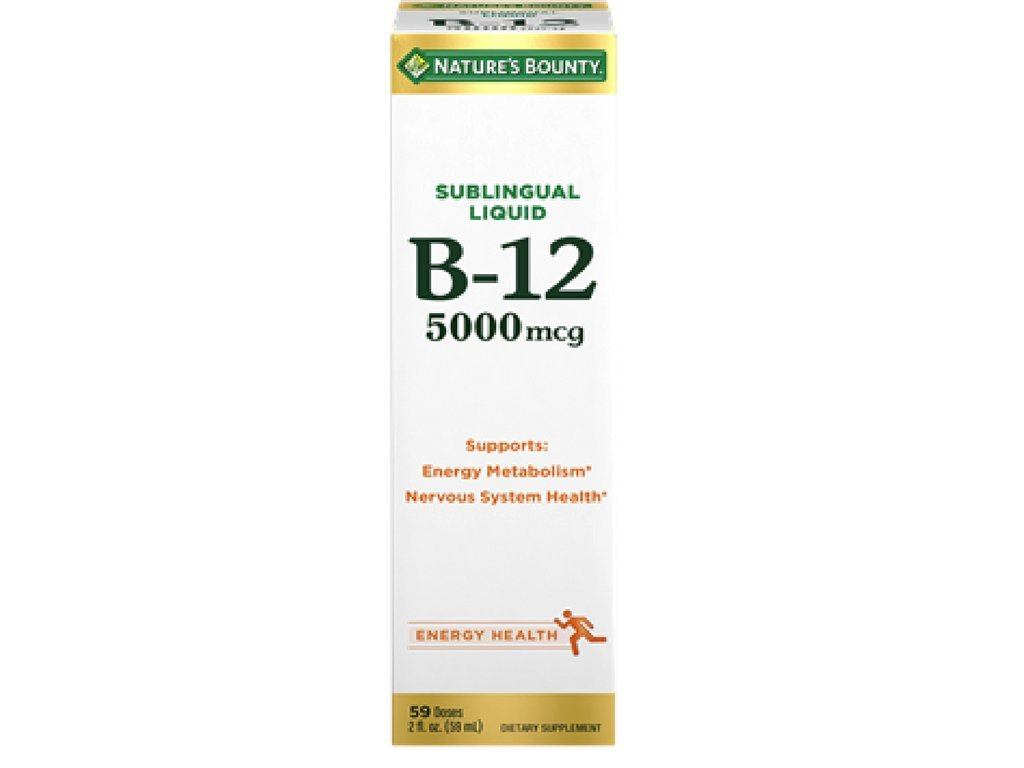 Nature's Bounty B-12 5000 mcg Sublingual Liquid Energy Health 2 oz ( Pack of 10)