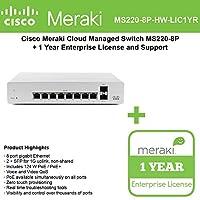 Meraki Cloud Managed MS220 Series 8 Port Gigabit PoE Switch Bundle - 8x 1GbE Ports - Includes 1 Year Enterprise License MS220-8P-BDL