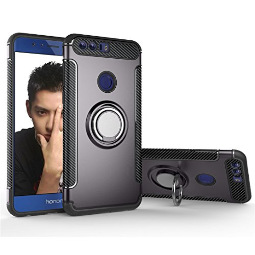 Funda Huawei Honor 8 Case Carcasa funda silicona TPU+PC Absorción de impacto Doble protección Cover Para soporte de coche Anillo de soporte case para Huawei Honor 8 (Verde) Gris