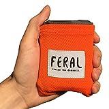 FERAL Lightweight Outdoor Pocket Blanket - For Backpacking, Music Festivals, Concerts, Hiking, Camping, Hunting - Blaze Orange
