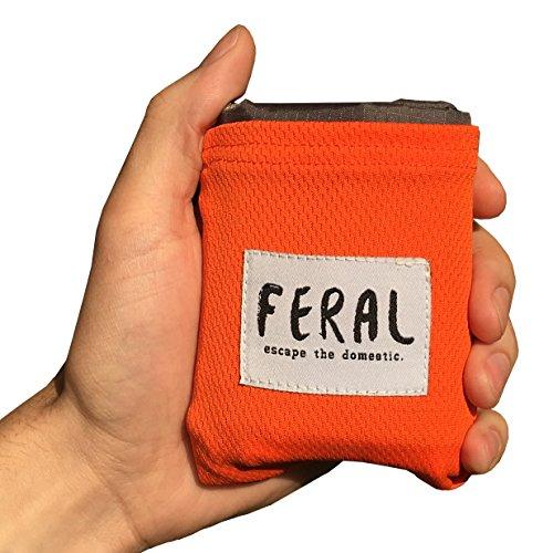FERAL Lightweight Outdoor Pocket Blanket - For Backpacking, Music Festivals, Concerts, Hiking, Camping, Hunting - Blaze Orange by FERAL