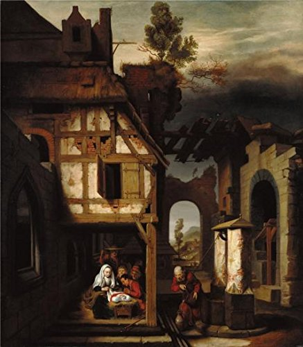 Oil Painting 'Adoration Of The Shepherds, About 1660 By Nicolaes Maes' Printing On Perfect Effect Canvas , 20x23 Inch / 51x58 Cm ,the Best Foyer Decor And Home Decor And (Essay About The History Of Halloween)