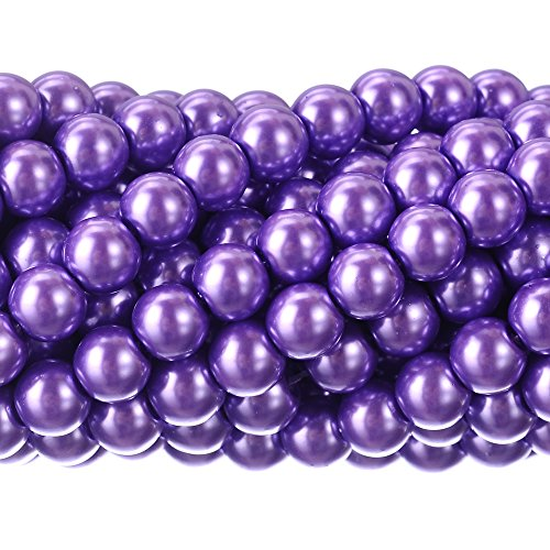 RUBYCA 200Pcs Czech Tiny Satin Luster Glass Pearl Round Beads DIY Jewelry Making 8mm Lavender Purple ()