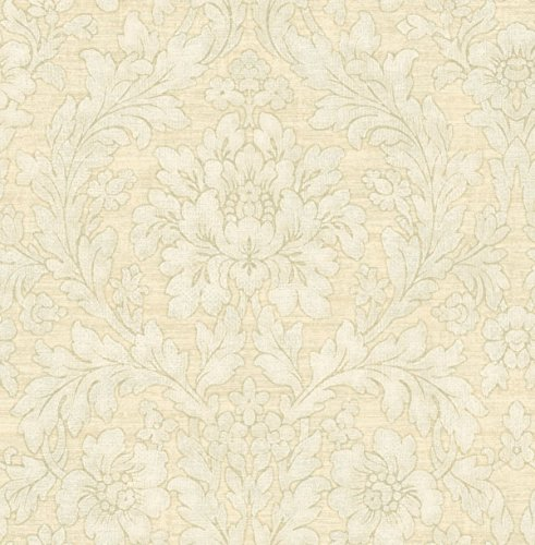 Blue Floral Wallpaper Damask Cream Wallcover Gray Arts and Crafts Vintage Design Morris Inspired