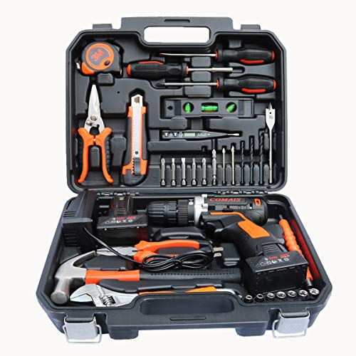 COLMAX Hand Combo Power Tool set 35 pcs, With 16.8V Cordless Drill and Household Repairing Mixed Tools, Daily Use Home Repairing Tool Kit (Best Drill For Home Use)