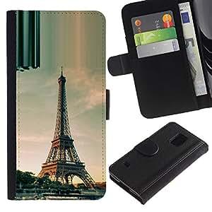 KingStore / Leather Etui en cuir / Samsung Galaxy S5 V SM-G900 / Arquitectura torre Eiffel de París del día