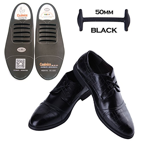 Coolnice No Tie Shoe Laces for Men and Women Silicone Elastic Waxed Thin Oxford Round Shoelaces for Dress and Leather Shoes Black 5CM