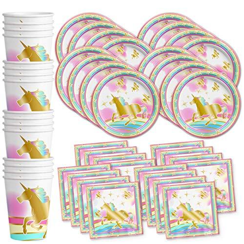 Gold Rainbow Unicorn Pegasus Birthday Party Supplies Set Plates Napkins Cups Tableware Kit for -