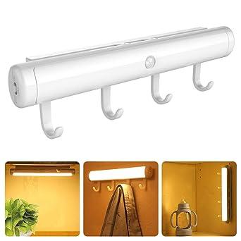 Lámpara LED de Armario Sensor de Movimiento Luz Lámpara Nocturna USB Recargable para Armario/Cajón