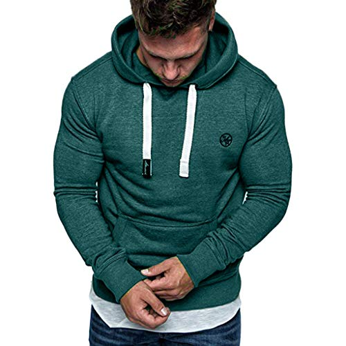 Men's Signature Sleeve Logo Midweight Hooded Sweatshirt Long Sleeve Top Blouse Tracksuits Xmas Valentine's Day Gifts (Army Green, XXL) (Logo Tracksuit)