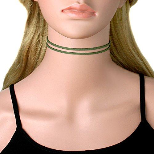 Cougar's Choice® Multi Strap Skinny Black Choker Collar Choker (Green)