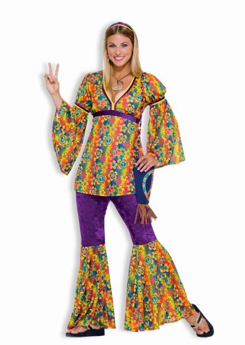 Forum Novelties Women's 60's Generation Hippie Purple Haze Costume, Rainbow, Standard (Best Female Halloween Costumes Of All Time)