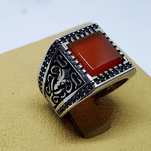 handmade middle eastern 925 sterling silver mens ring woman red carnelian agate