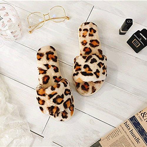 Lingmin Kvinners Plysj Pels Leopard Print Slip-on Super Komfort Thong Tøffel, Koselig Sklisikker, Mykhet Frotté Krem