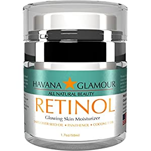 Havana Glamour - Anti Aging Pure RETINOL Moisturizer Cream. Best day and night cream for face and neck; with Hyaluronic Acid, Vitamin E, Panthenol and Coconut Oil. Reduces wrinkles and fine lines.