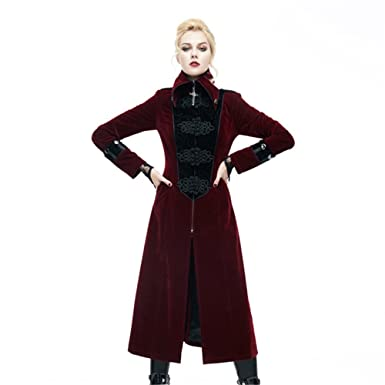 devil fashion gothic women long jacket coats steampunk 2017 autumn winter renaissance halloween costume xxxl