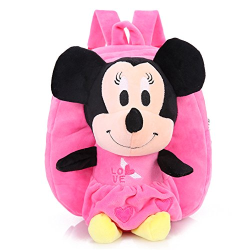 YOURNELO Kid's Plush Mickey Mouse Hello Kitty Preschool Toddler Toys Bag Backpack Schoolbag (B-Minnie Pink)