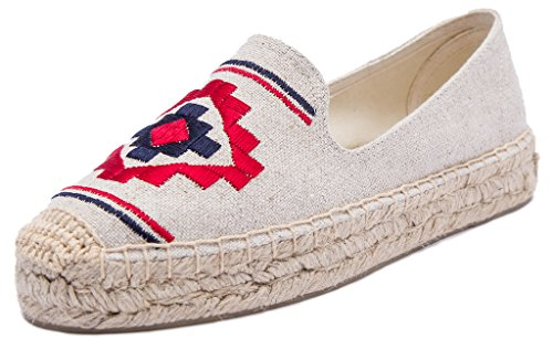 Slip U Platform Espadrilles sandy Women Loafer On Embroidered Shoes Sneaker lite Flat Geometric Tqr40TR