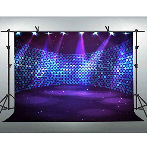 FLASIY 10X7FT Prom Party Themed Photo Backdrop Glitter Spotlight Stage Photography Background for Club Party Video Photo Studio Props AYY024 (Photo Stage)
