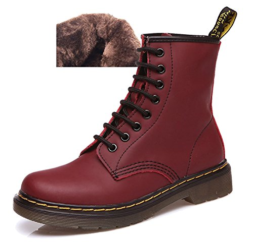 Boots Sport Classiques Femme Chaussures Martin Bottines Lacets Ubeauty Bottes À Rose Flattie Velours XwtCaxnXSq