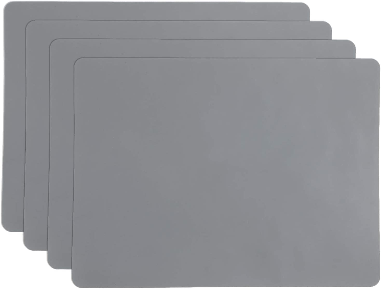 SHACOS Silicone Placemats Set of 4 Heat Resistant Waterproof Table Mats 16x12 inch Non-Slip Place Mats Easy Clean (Dark Gray)