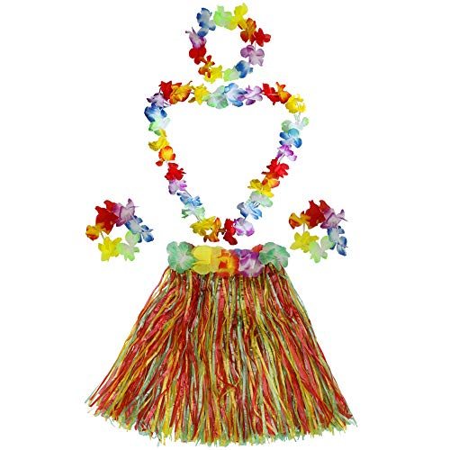 Kid's Elastic Hawaiian Hula Dancer Grass Skirt with Flower Costume Set - Dancer Skirt