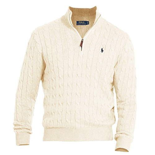Polo Ralph Lauren Mens Cable Knit Mock Neck Mock Turtleneck Sweater Ivory L  by Polo Ralph