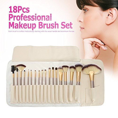 Ammiy 18-Piece Professional Makeup Brush Set Wood Handle With Travel Case
