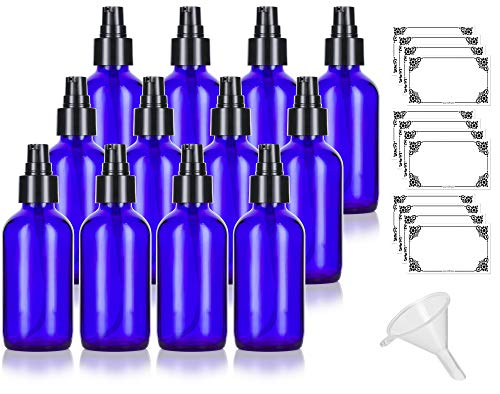4 oz Cobalt Blue Glass Boston Round Treatment Pump Bottle (12 Pack) + Funnel and Labels for Essential Oils, Aromatherapy, Food Grade, bpa Free