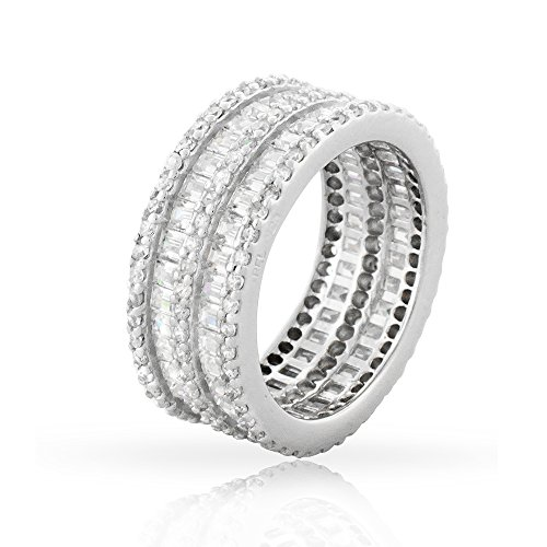 Baguette Row Double - .925 Sterling Silver Womens Double Row Baguette CZ Eternity Band Rhodium Ring 5 6 7 8 9 (8)