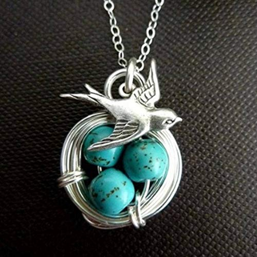 Womens Antique Wealth Bird Natural Gemstone Turquoise Pendant Necklace