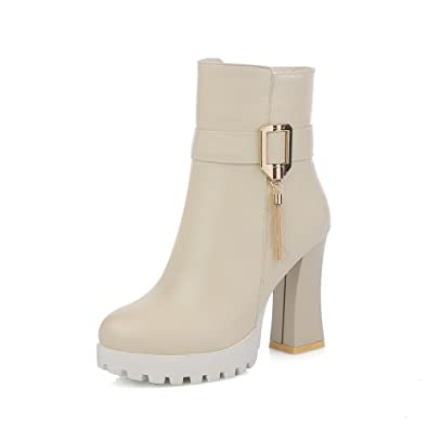 Ladies Metal Chain Platform Chunky Heels Round Toe White Imitated Leather Boots - 6.5 B(M) US