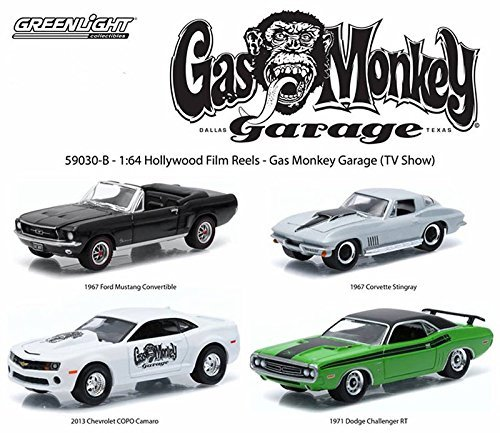 GREENLIGHT 1: 64SCALE HOLLYWOOD FILM REELS GASMONKEY GARAGE 1967 FORD MUSTANG COVERTIBLE / 1967 CHEVROLET CORVETTE STINGRAY / 2013 CHEVROLET COPO CAMARO / 1971 DODGE CHALLENGER R / T 4-pack Green Light 1:64 scale Hollywood film reel