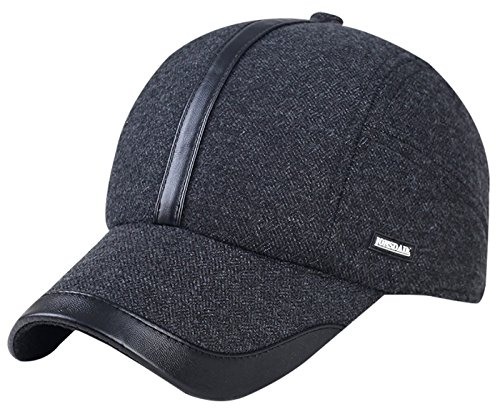 Men Winter Thicken Hat Wool Fleece Lined Snowboarding Baseball Cap with Earflaps Dark (Fold Down Earflaps)