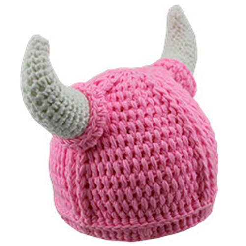 Handmade Winter Viking Horn Knit Wool Baby Caps (0-3years old, Light Pink) (Cloth Viking Helmet)