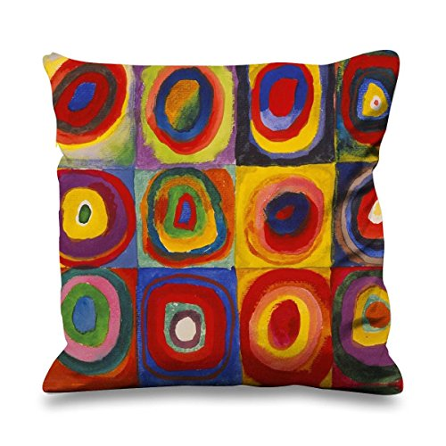 Wassily Kandinsky Colour Study Square with Cincentric Circles Faux Silk 45cm x 45cm Sofa Cushion by Tribal T-Shirts (Colour Kandinsky Study)