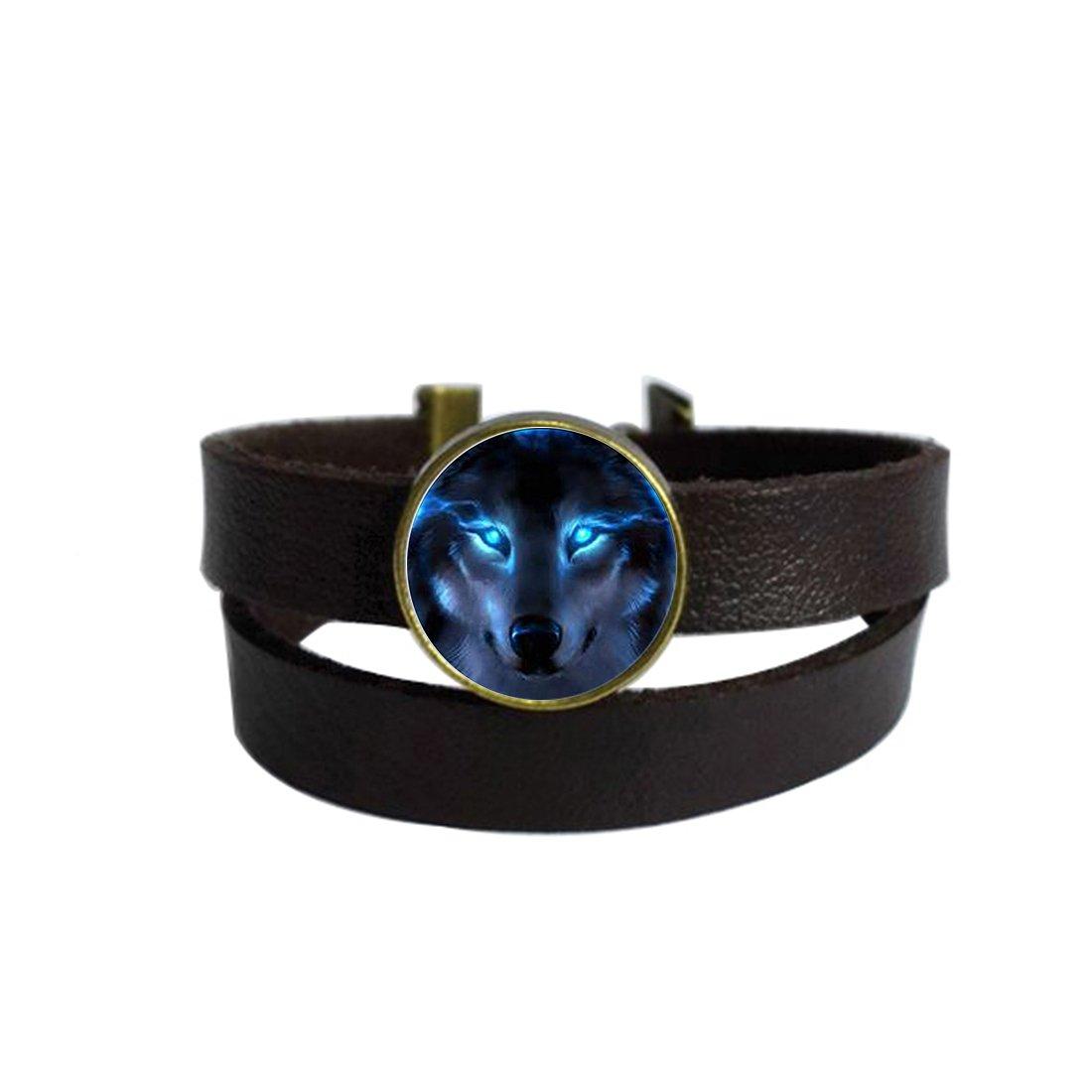 LooPoP Vintage Punk Dark Brown Leather Bracelet Nordic Wiccan Wolf Belt Wrap Cuff Bangle Adjustable by LooPoP (Image #1)