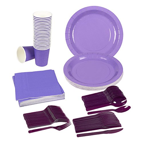 Disposable Dinnerware Set - Serves 24 - Purple Party Supplies - Includes Plastic Knives, Spoons, Forks, Paper Plates, Napkins, Cups, Purple
