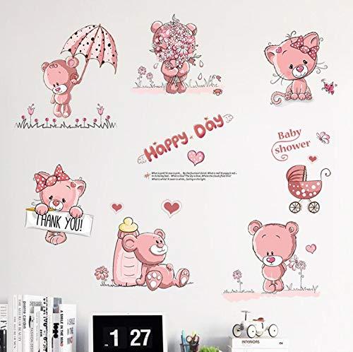 - Stickers Decals - Animal Alphabet Wall Decals - Classroom Wall Decals,Pink Cartoon Cat Flower Butterfly Wall Sticker for Baby Girls Kids Rooms Home Decor Teddy Bear Umbrella Classroom Wall Decals