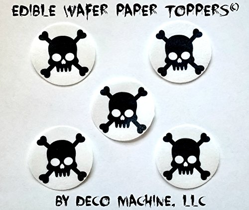Poison Props (24 HALLOWEEN Pirate Skull Crossbones Poison Death Decorative Wafer Paper Toppers © CUPCAKE TOPPERS SMALL 1.5