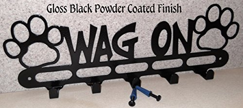 Dog Leash Holder. Hook. Hanger. Wag On. Handmade in USA. Gloss Black Finish. Solid Steel.15.5 inch