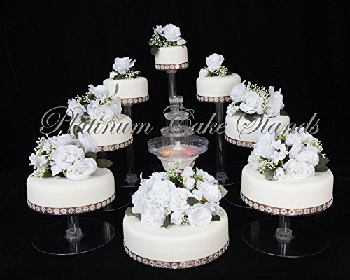 PLATINUMCAKESTAND 8 Tier Cascade Wedding Cake Stand with Fountain Set (STYLE R801)