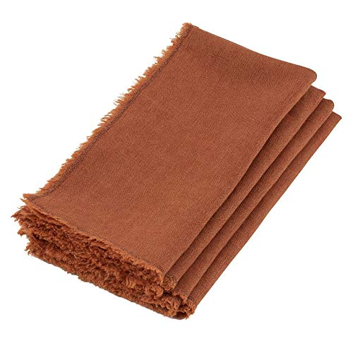 HNU 4 Piece 20 in Wide x 20 in Long Elegant Vintage Terracotta Brown Dinner Napkins Transitional Solid Color Beautiful Stone Washed Square Shaped Fringed Edge Casual Dinner Napkins - Terra Cotta Transitional