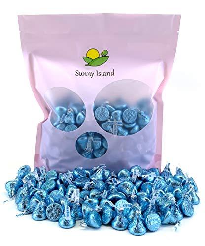 Sunny Island Bulk - Hershey's Kisses Light Blue Foil Wrap Milk Chocolate Candy, 2 Pounds Bag