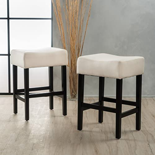 Coventry Beige Fabric Backless Counter Stool Set of 2