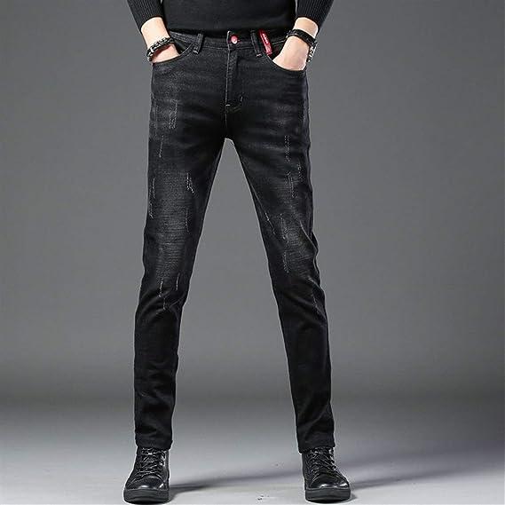Fashion clothing メンズ ダメージ デニムパンツ スーパーストレッチ ダメージジーンズ (Color : Black, Size : 31)