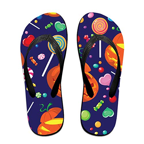 Sprutea Seamless Halloween Candy Vector Image Love Casual Flip Flop Sandals for Men and Women for Home Beach Or Shower Black for $<!--$18.60-->