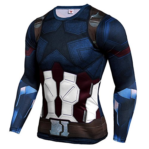 Mens Dri-Fit Compression Shirt,Super Heros Captain America Sports T Shirt S